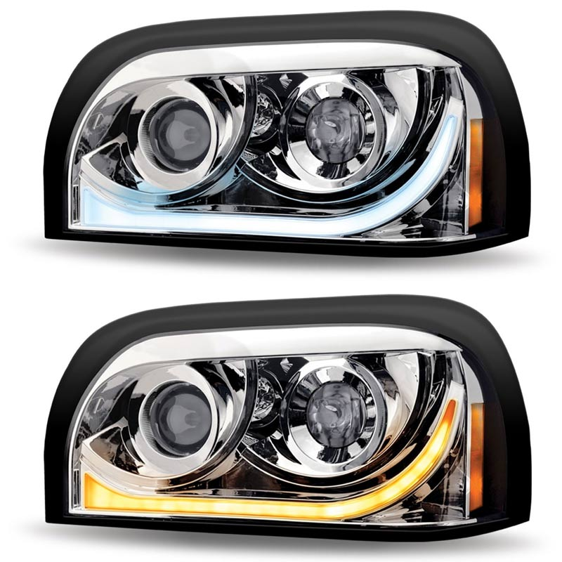 Freightliner Century LED Projector Headlight With LED Dual Function Light  Bar