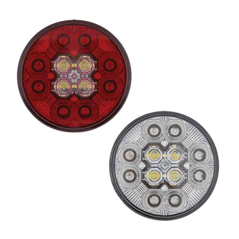 Red Lens United Pacific 36607 4 Inch Round Combo Light with 12 LED Stop Turn Tail Light and 16 LED Back-Up Light