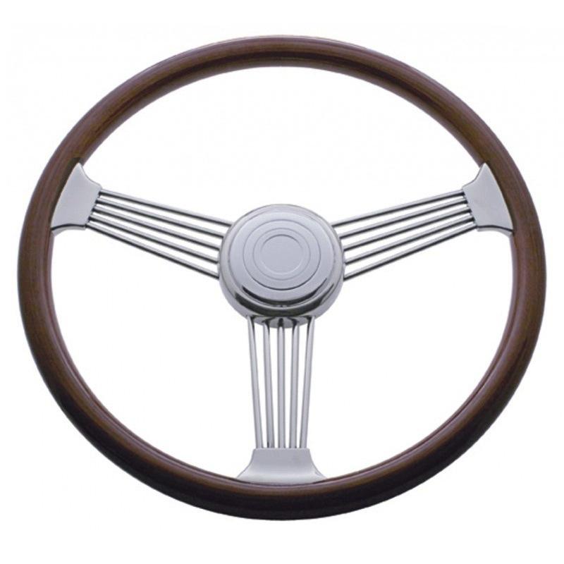 """Peterbilt 1998 On Semi Truck 18/"""" Chrome Skull Design Steering Wheel"""